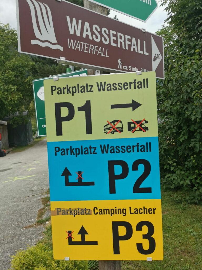 Beim Gollinger Wasserfall parken - P1 bis P3